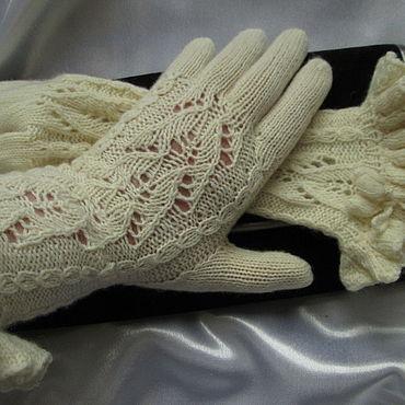 Accessories handmade. Livemaster - original item Copy of work Gloves Cream tale Merino cashmere silk. Handmade.