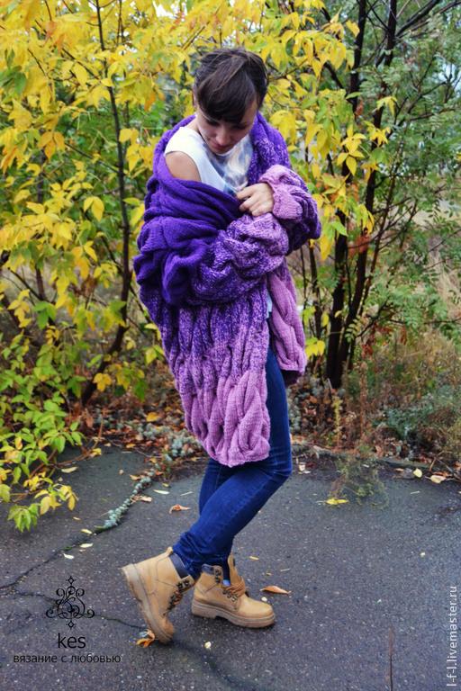 """Кофты и свитера ручной работы. Ярмарка Мастеров - ручная работа. Купить Вязаный кардиган """"Баклажан"""". Handmade. Тёмно-фиолетовый, полушерсть"""