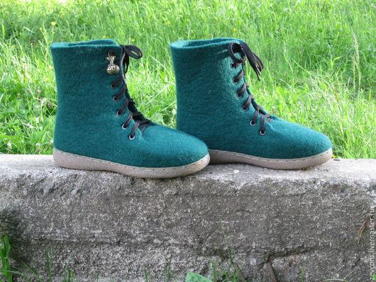 """Обувь ручной работы. Ярмарка Мастеров - ручная работа. Купить Валяные ботинки """"Зеленые"""". Handmade. Зеленый, обувь ручной работы"""
