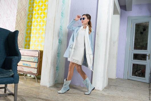 Обувь ручной работы. Ярмарка Мастеров - ручная работа. Купить Летние джинсовые сапоги 1-157. Handmade. Голубой, джинсовый