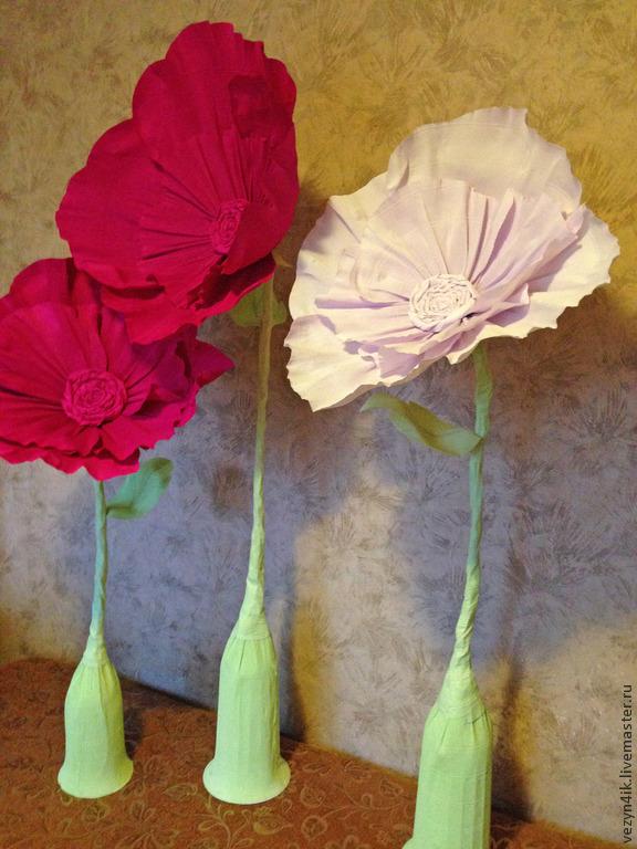 Большие декоративные цветы из гофрированной бумаги