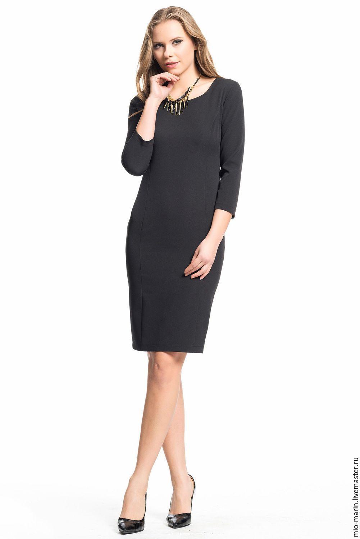 Платье карандаш черное короткое