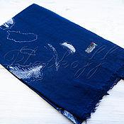 Аксессуары handmade. Livemaster - original item Blue Italian linen scarf
