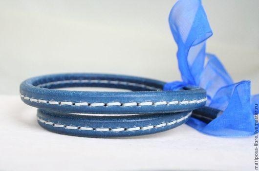 Для украшений ручной работы. Ярмарка Мастеров - ручная работа. Купить Шнур 10х7 простроченный, синий простроченный. Handmade.