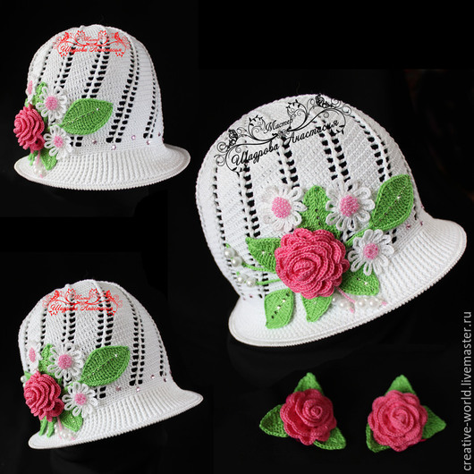 Шапки и шарфы ручной работы. Ярмарка Мастеров - ручная работа. Купить шляпка панамка для девочки. Handmade. Шляпка, шляпка с цветами