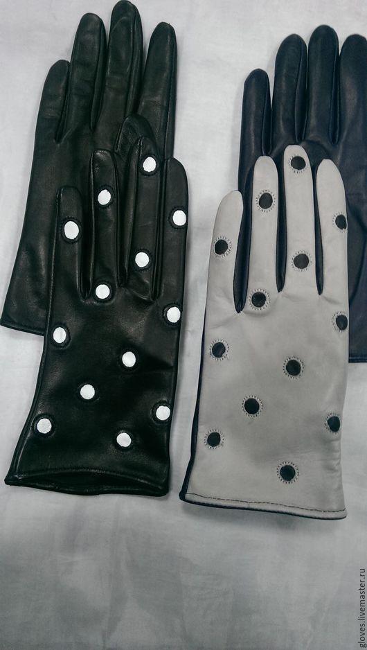 """Варежки, митенки, перчатки ручной работы. Ярмарка Мастеров - ручная работа. Купить Перчатки женские кожаные на шерстяной подкладке """"В горошек"""". Handmade."""
