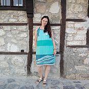 Одежда handmade. Livemaster - original item Crochet dress Sea breeze linen. Handmade.