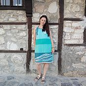 """Одежда ручной работы. Ярмарка Мастеров - ручная работа Платье-сарафан  """"Морской бриз""""льняное. Handmade."""