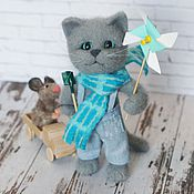 Куклы и игрушки handmade. Livemaster - original item A happy childhood. Kitten with a typewriter and a mouse.. Handmade.