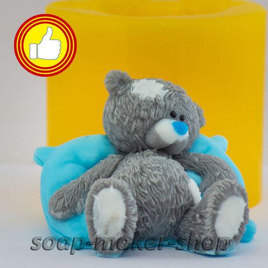 Материалы для косметики ручной работы. Ярмарка Мастеров - ручная работа. Купить Силиконовая форма для мыла «Тедди на подушке 2 3D». Handmade.
