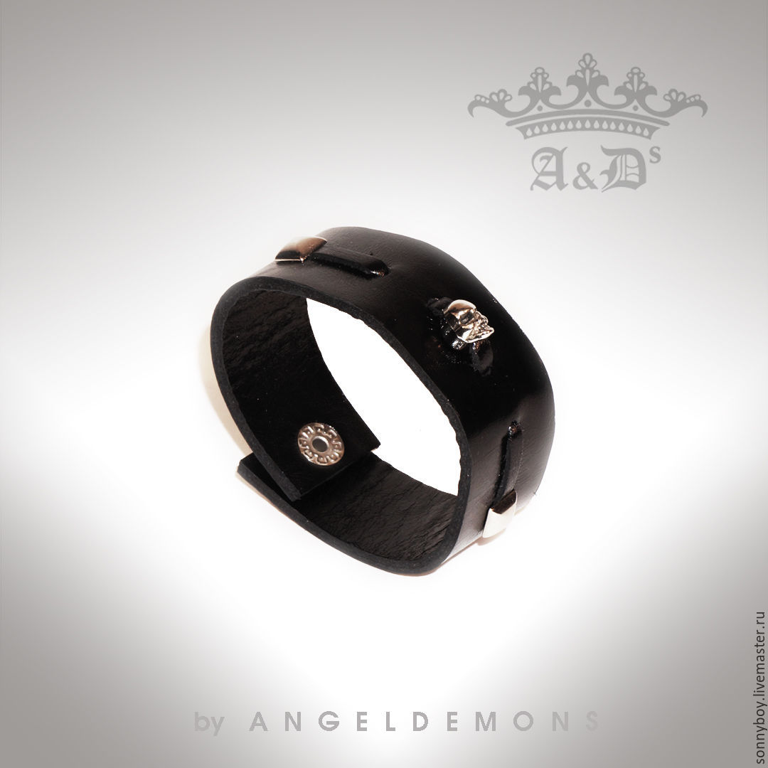Браслет из кожи - Bracelet Black Scull