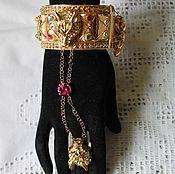 Украшения handmade. Livemaster - original item Slave bracelet with bells, crystals, a wolf`s head, Wolf pair. Handmade.