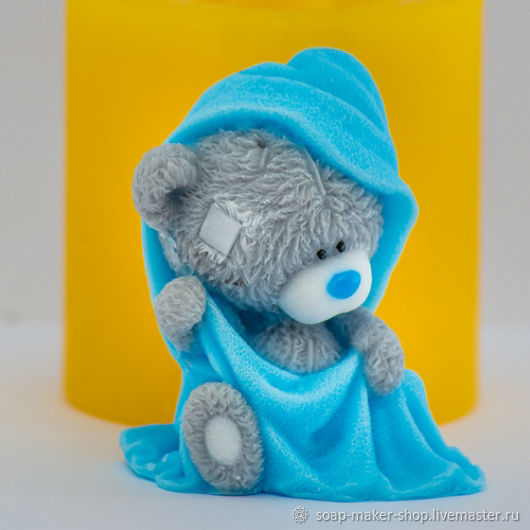 Silicone mold for soap 'Teddy in a towel 3D', Form, Shahty,  Фото №1