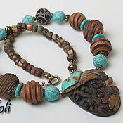 Jewelry Sets handmade. Livemaster - original item Beads with stones and bracelets Tales of the black forest. Handmade.