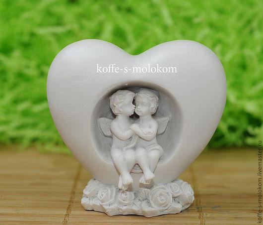 Материалы для косметики ручной работы. Ярмарка Мастеров - ручная работа. Купить Силиконовая форма для мыла Два ангела в сердце 3D. Handmade.