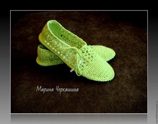 Обувь ручной работы. Ярмарка Мастеров - ручная работа. Купить Вязаная обувь. Обувь на заказ. Мокасины.. Handmade. Зеленый, лето