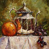 handmade. Livemaster - original item Oil painting Orange and grapes. Handmade.
