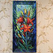 """Картины ручной работы. Ярмарка Мастеров - ручная работа Картина маслом. """"Огненные лилии"""". Цветы. Handmade."""