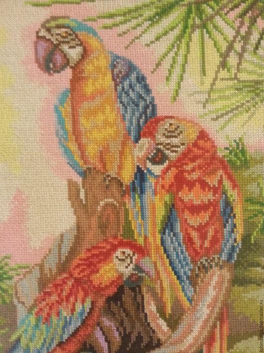 """Животные ручной работы. Ярмарка Мастеров - ручная работа. Купить Картина выполнена в технике счетный крест """"Попугаи"""". Handmade. Попугаи"""