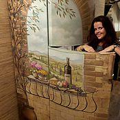 Дизайн и реклама ручной работы. Ярмарка Мастеров - ручная работа Роспись холодильника Итальянское окно. Handmade.