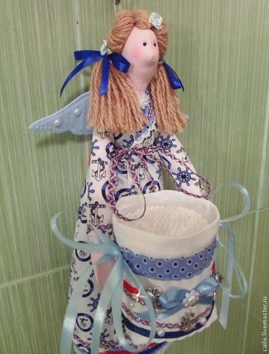 Ванная комната ручной работы. Ярмарка Мастеров - ручная работа. Купить Хранительница ватных дисков и палочек-7. Тильда Марина. Handmade.