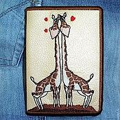 """Канцелярские товары ручной работы. Ярмарка Мастеров - ручная работа Обложка для паспорта """" Влюблённые жирафы """". Handmade."""