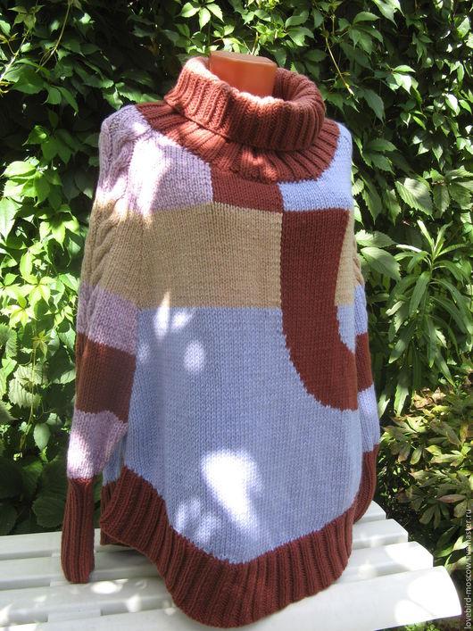 """Пончо ручной работы. Ярмарка Мастеров - ручная работа. Купить Пуловер-пончо """"Микс"""". Handmade. Комбинированный, пончо из шерсти, для женщин"""