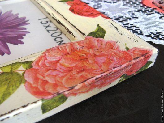Фоторамки ручной работы. Ярмарка Мастеров - ручная работа. Купить Фоторамка 15х20 рамка для фото декупаж, Шебби-шик Розовые розы. Handmade.
