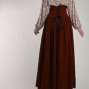 Одежда ручной работы. Ярмарка Мастеров - ручная работа Шерстяная юбка с корсетом, длинная юбка в пол, коричневый пояс-корсет. Handmade.