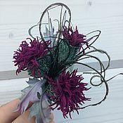 Украшения handmade. Livemaster - original item Leather flowers. Thistle leather