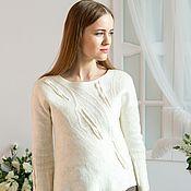 "Одежда handmade. Livemaster - original item Валяный свитер ""Парижское кафе"", Климкина. Handmade."