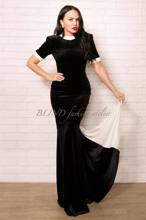 Платья ручной работы. Ярмарка Мастеров - ручная работа. Купить Платье из бархата-стрейч 00102. Handmade. Черный, blind