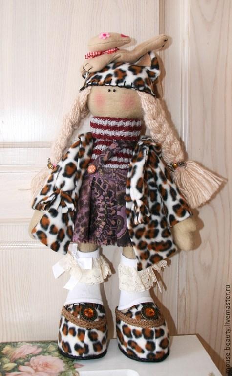 Куклы тыквоголовки ручной работы. Ярмарка Мастеров - ручная работа. Купить кукла в леопардовом наряде. Handmade. Коричневый, кукла для девочки