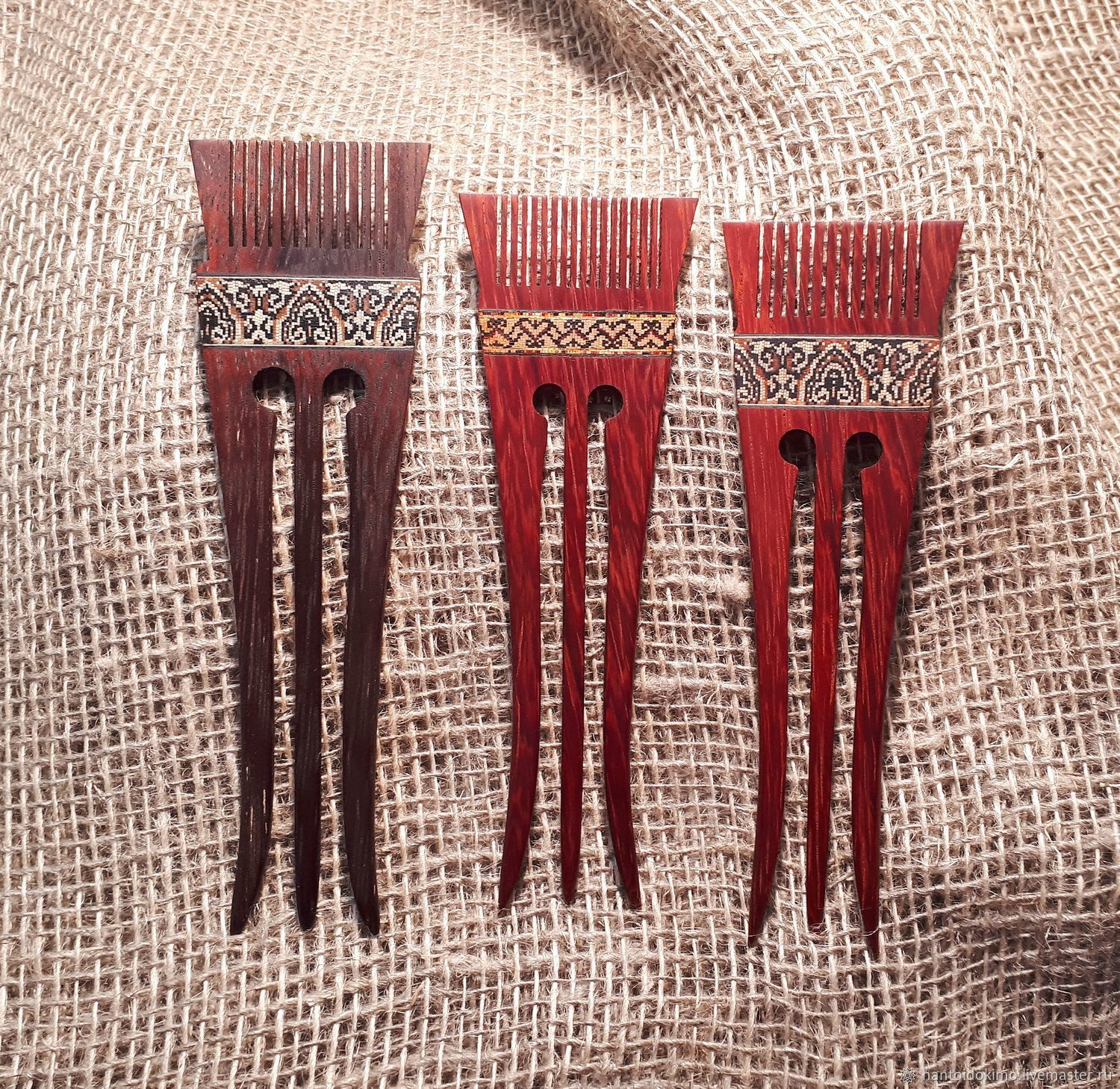 Woodem hairpin Sudarushka from a tree with inlay, hair clip, Hairpin, Kursk,  Фото №1
