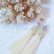 Украшения handmade. Livemaster - original item Drop brush earrings pale yellow beaded silk. Handmade.