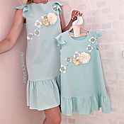 Одежда handmade. Livemaster - original item The same Dress Familly mother and daughter with flowers print. Handmade.
