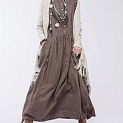 Одежда ручной работы. Ярмарка Мастеров - ручная работа Льняное бохо платье 4-16 умбра. Handmade.