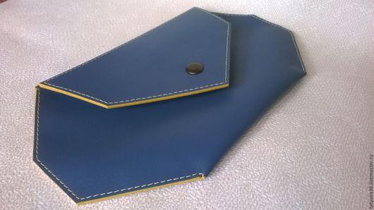Кошельки и визитницы ручной работы. Ярмарка Мастеров - ручная работа. Купить Клатч - кошелек кожаный. Handmade. Голубой
