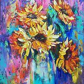 """Картины и панно handmade. Livemaster - original item Картина маслом яркие цветы """"Абстрактные подсолнухи"""". Handmade."""
