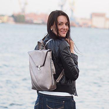 Сумки и аксессуары ручной работы. Ярмарка Мастеров - ручная работа Monaco Silver сумка-рюкзак графитовый металлик. Handmade.