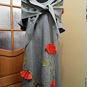 """Платья ручной работы. Ярмарка Мастеров - ручная работа Платье в пол из хлопка с шалью""""Маки"""". Handmade."""