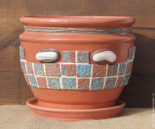 Кашпо ручной работы. Ярмарка Мастеров - ручная работа. Купить Кашпо керамическое, цветочный горшок Мозаика. Handmade. Кашпо для цветов