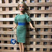 Одежда для кукол ручной работы. Ярмарка Мастеров - ручная работа Стильное платье-миди с рукавами фонариками для Барби. Handmade.