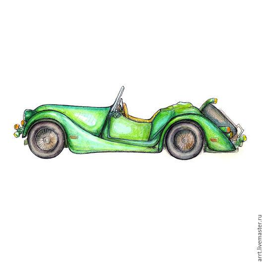 Город ручной работы. Ярмарка Мастеров - ручная работа. Купить Ретро автомобиль Зеленый кабриолет Акварель 21х30. Handmade. Автомобиль