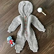 Работы для детей, handmade. Livemaster - original item 100% Merino wool knit jumpsuit. Handmade.