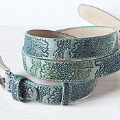 Аксессуары handmade. Livemaster - original item A leather belt embossed Mint. Handmade.