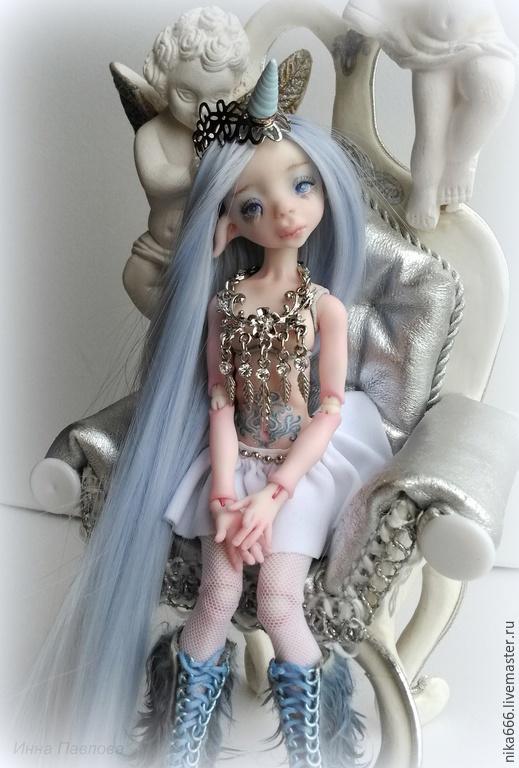 Коллекционные куклы ручной работы. Ярмарка Мастеров - ручная работа. Купить Единорожка. Handmade. Голубой, шарнирка, единорог, полимерная глина