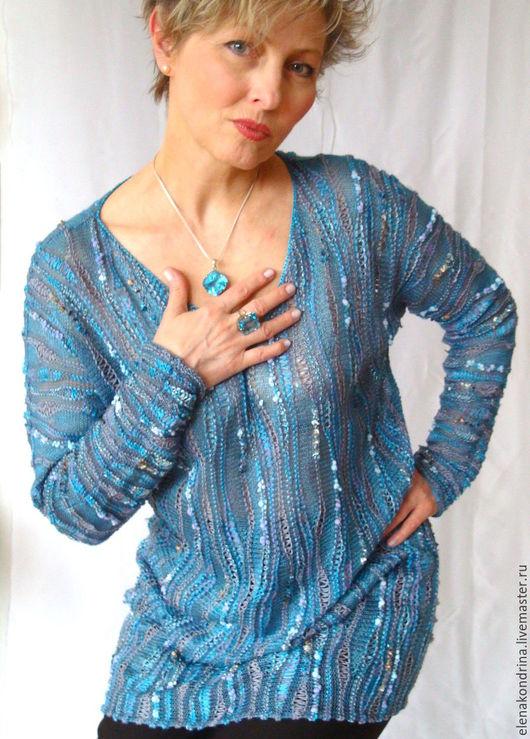 """Кофты и свитера ручной работы. Ярмарка Мастеров - ручная работа. Купить Джемпер """"Голубой топаз"""". Handmade. Голубой, весенняя мода"""