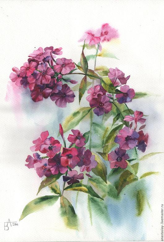 Картины цветов ручной работы. Ярмарка Мастеров - ручная работа. Купить Фиолетовые флоксы. Handmade. Тёмно-фиолетовый, флоксы