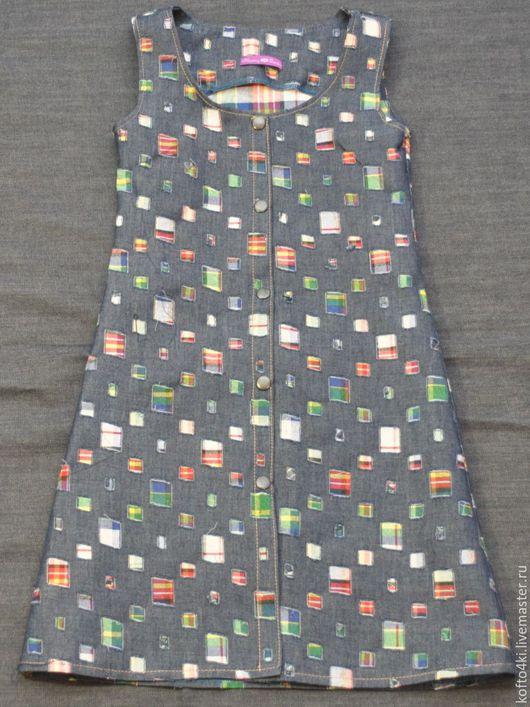 """Одежда для девочек, ручной работы. Ярмарка Мастеров - ручная работа. Купить Джинсовый сарафан в """"заплатку"""". Handmade. Орнамент, платье"""